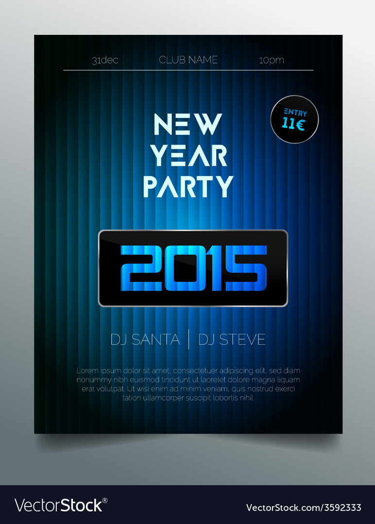 New year party flyer template - dark blue design vector | Price: 1 Credit (USD $1)