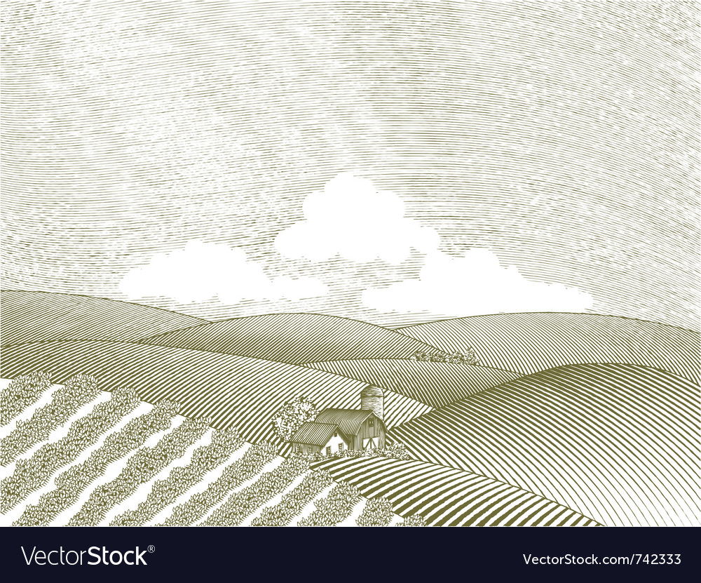 Rural farm scene vector | Price: 1 Credit (USD $1)