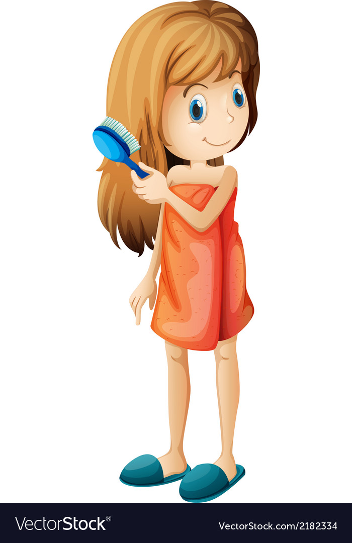 A teenager combing her hair vector   Price: 1 Credit (USD $1)
