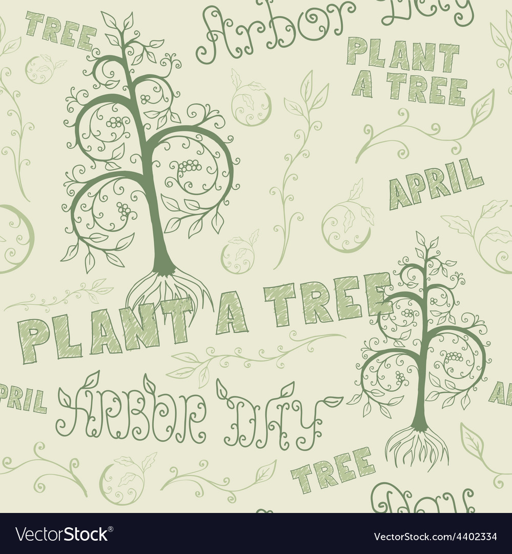Arbor day hand drawn seamless floral pattern vector | Price: 1 Credit (USD $1)