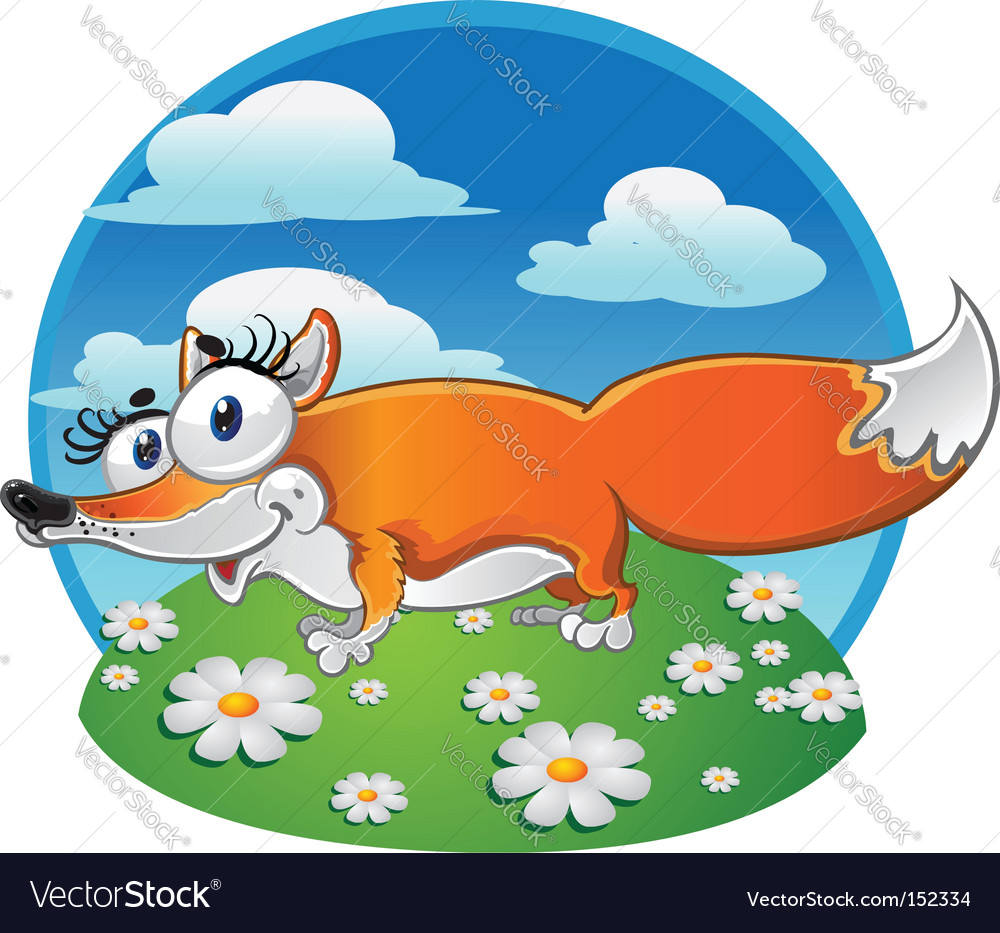 Cheerful fox on the background vector | Price: 3 Credit (USD $3)