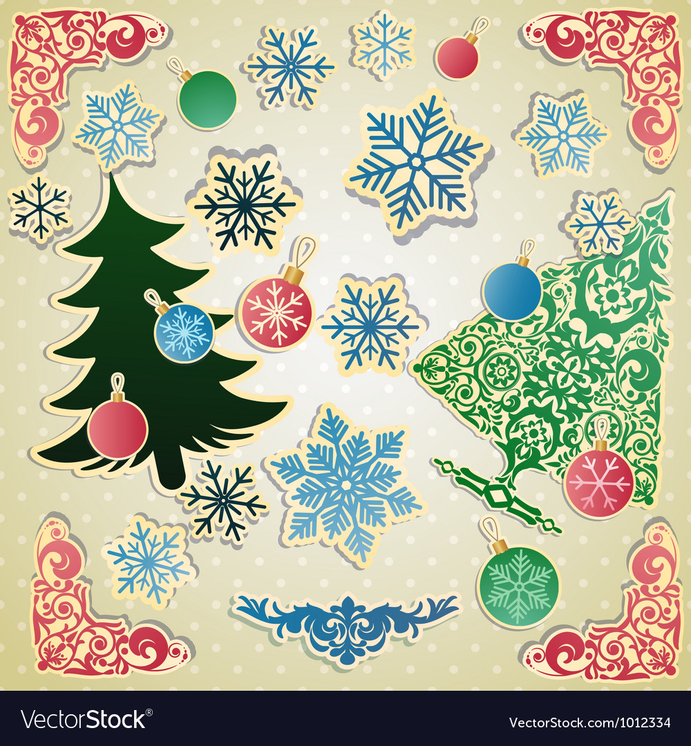 Scrapbooking set for christmas vector | Price: 1 Credit (USD $1)