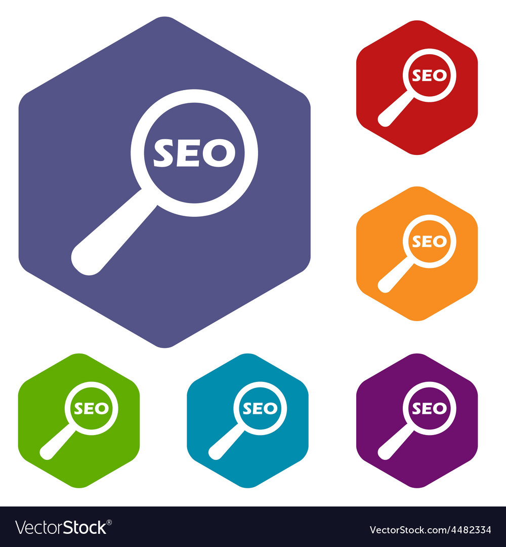 Seo search rhombus icons vector | Price: 1 Credit (USD $1)