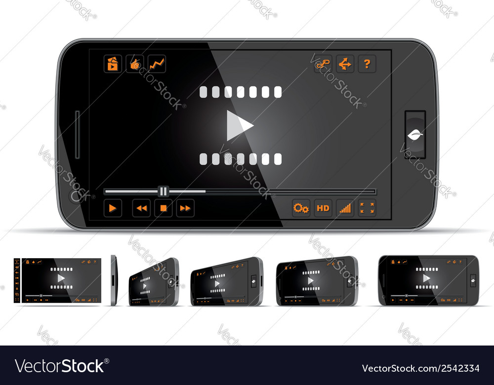 Smartphone video player vector | Price: 1 Credit (USD $1)