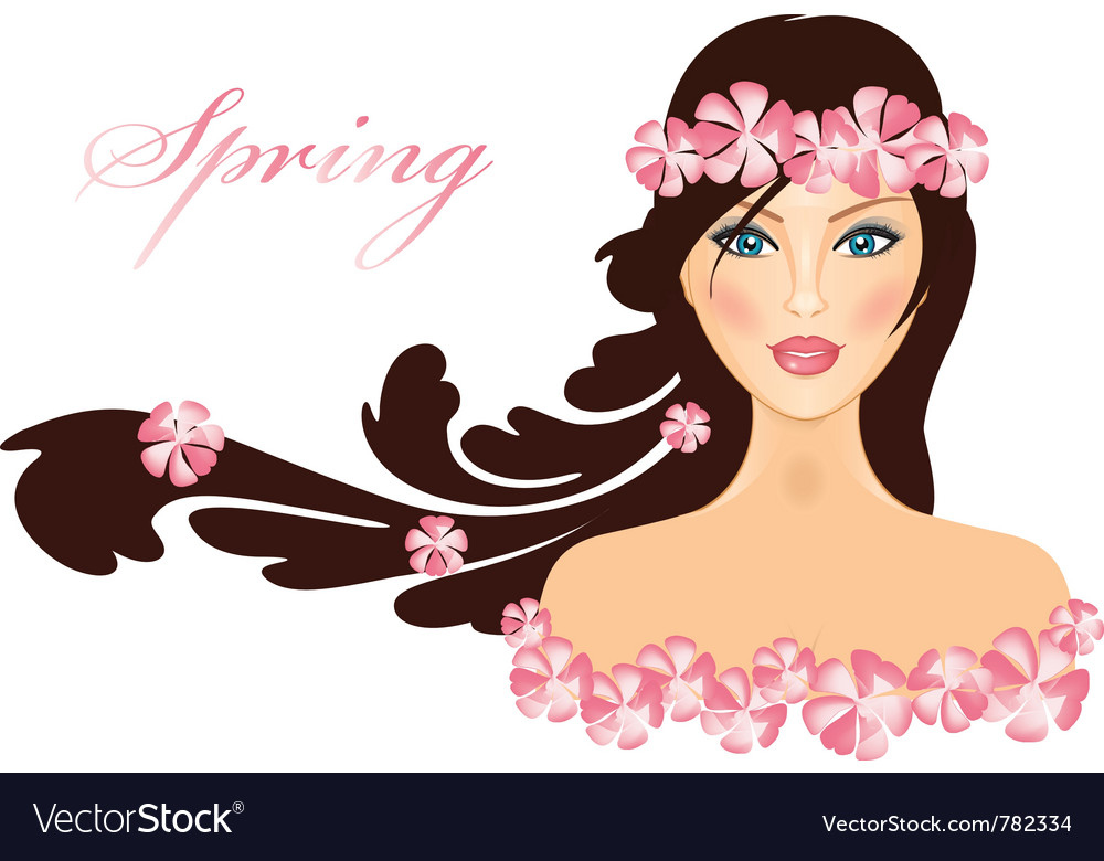 Spring of girl with flowers vector | Price: 3 Credit (USD $3)