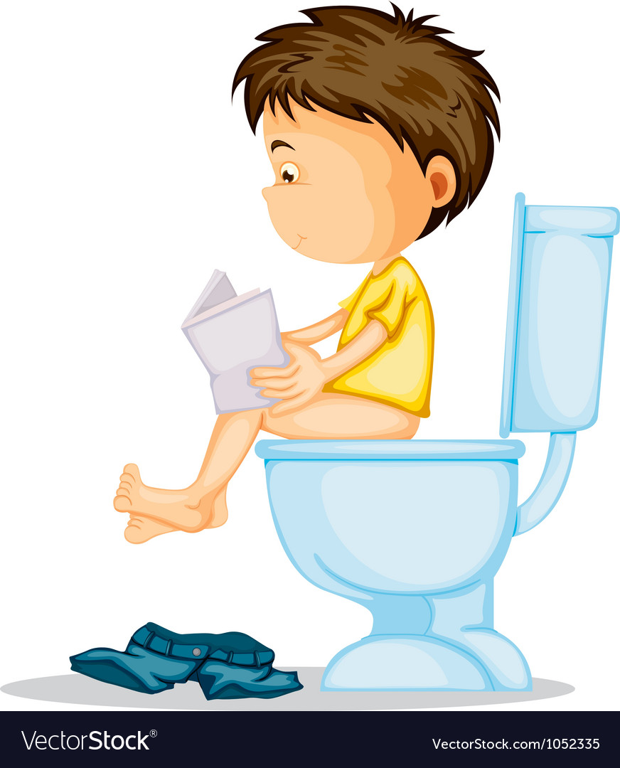 A boy sitting on commode vector | Price: 1 Credit (USD $1)