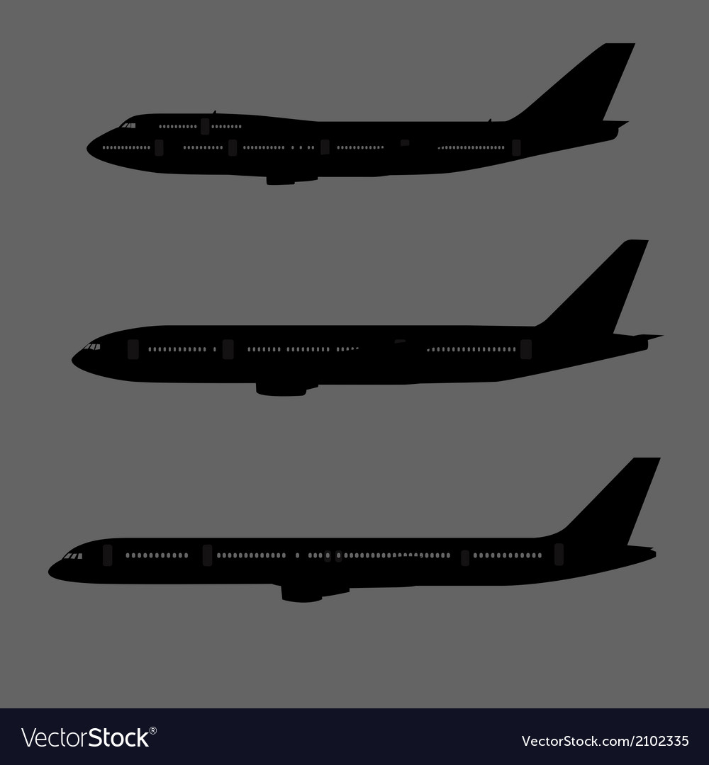 Aircraft silhouettes side view vector | Price: 1 Credit (USD $1)