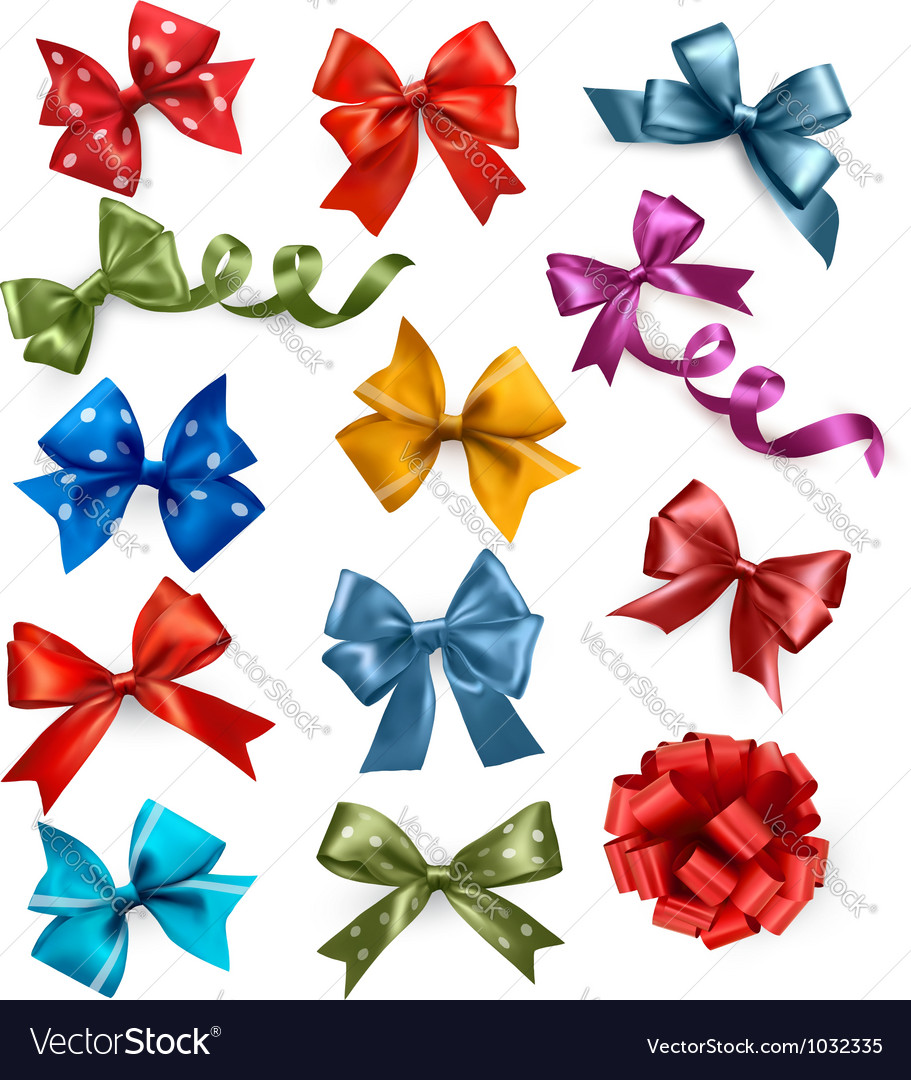 Big set of colorful gift bows with ribbons vector | Price: 3 Credit (USD $3)