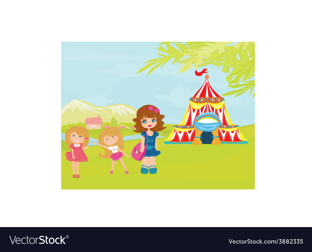Children waiting for the opening of the circus vector | Price: 1 Credit (USD $1)