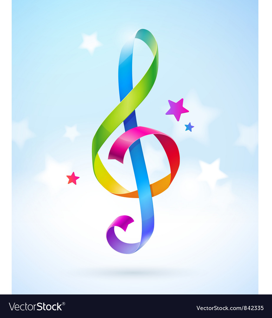 Colored ribbons in the shape of treble clef vector | Price: 1 Credit (USD $1)