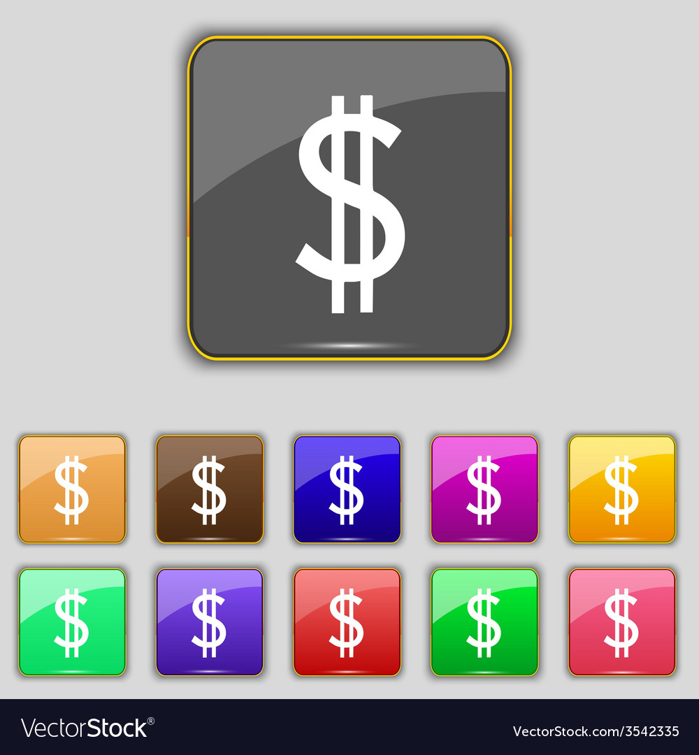 Dollars sign icon usd currency symbol money label vector | Price: 1 Credit (USD $1)