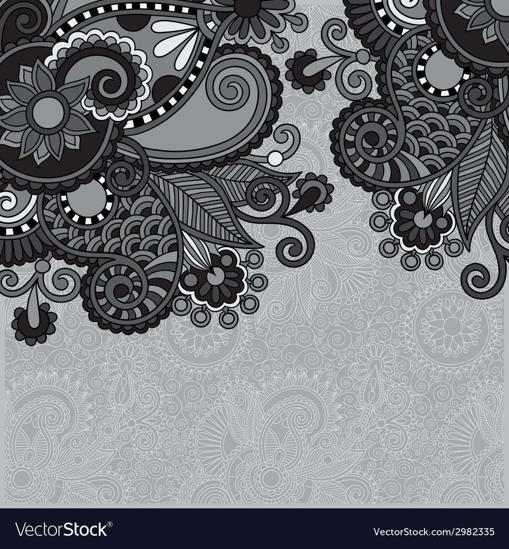 Grey vintage floral ornamental template on flower vector | Price: 1 Credit (USD $1)