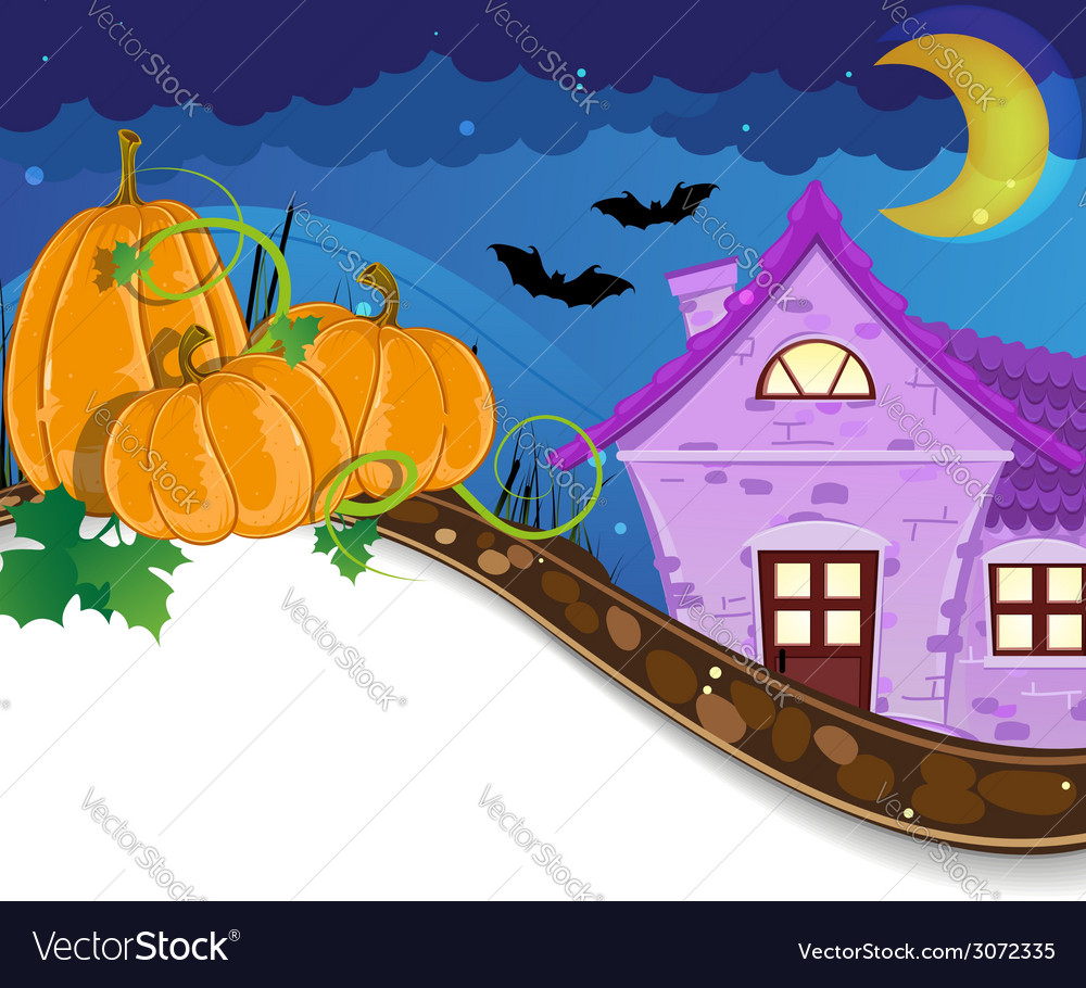 Halloween pumpkins near the brick house vector | Price: 3 Credit (USD $3)