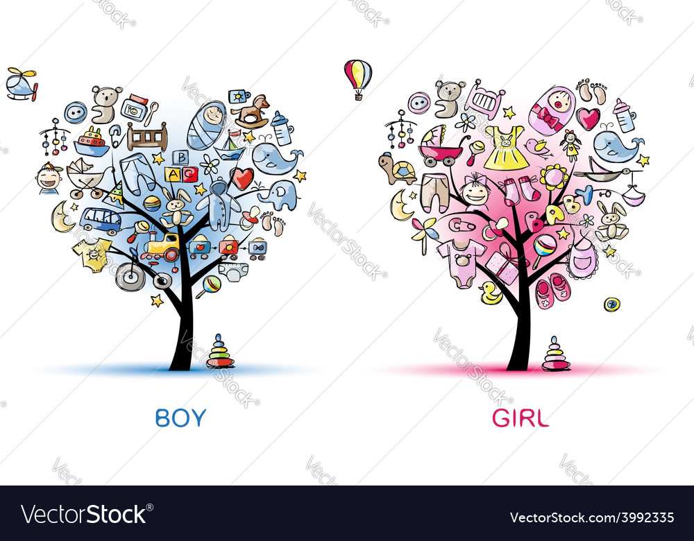 Heart shaped trees design for baby boy and girl vector | Price: 1 Credit (USD $1)