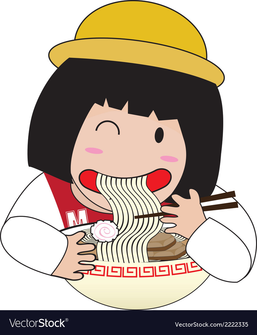 Little girl eat noodles vector | Price: 1 Credit (USD $1)