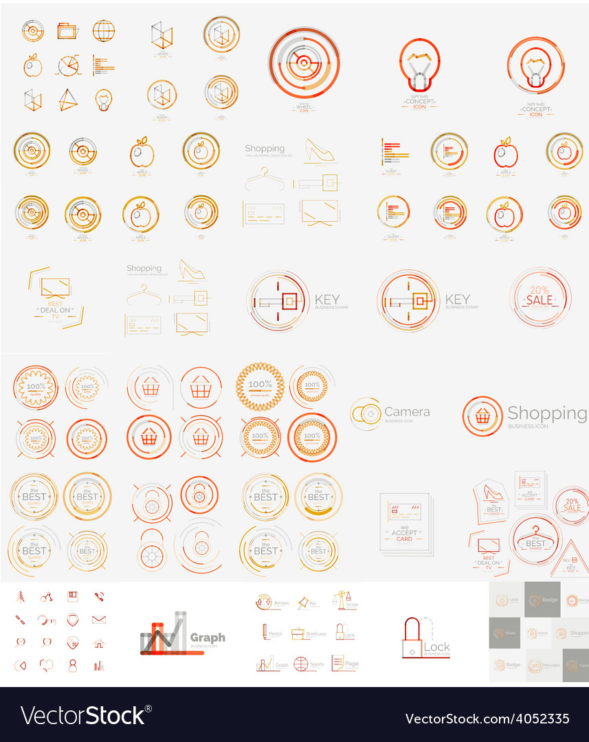 Mega set of linear stamp logos vector | Price: 1 Credit (USD $1)