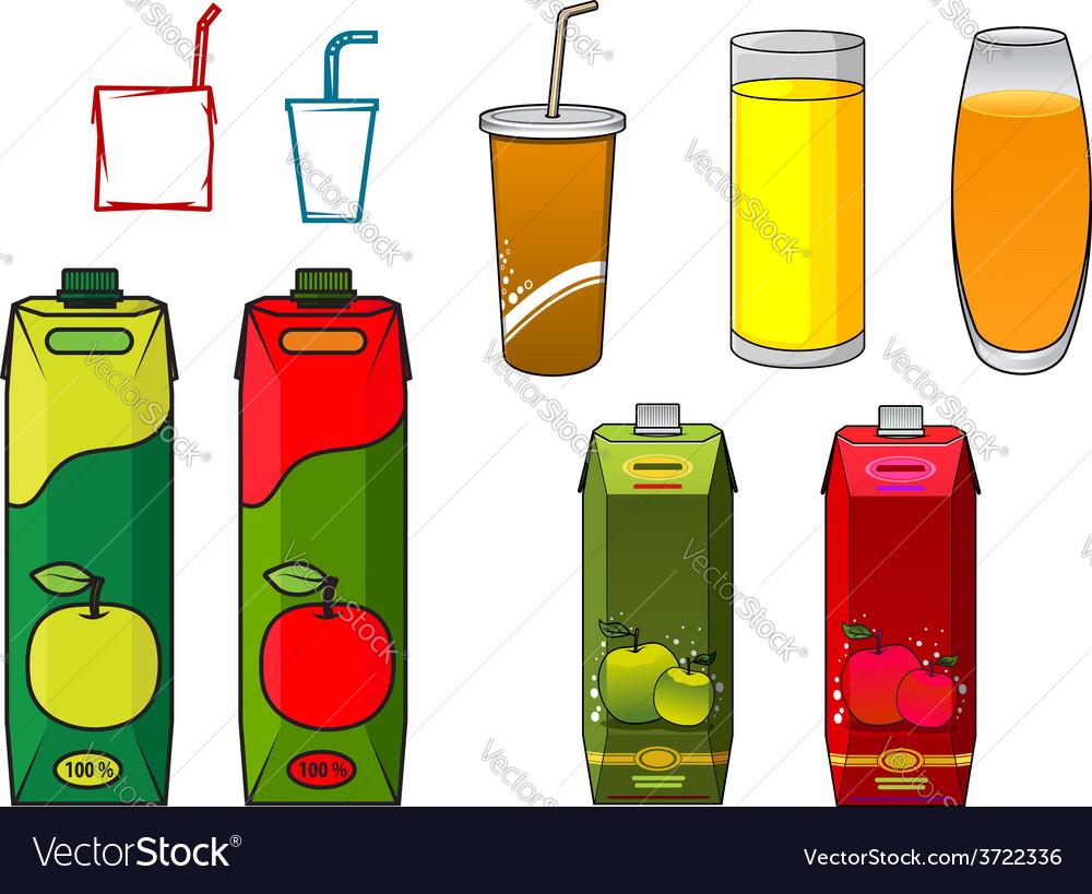Apple juice design elements in cartoon style vector | Price: 1 Credit (USD $1)