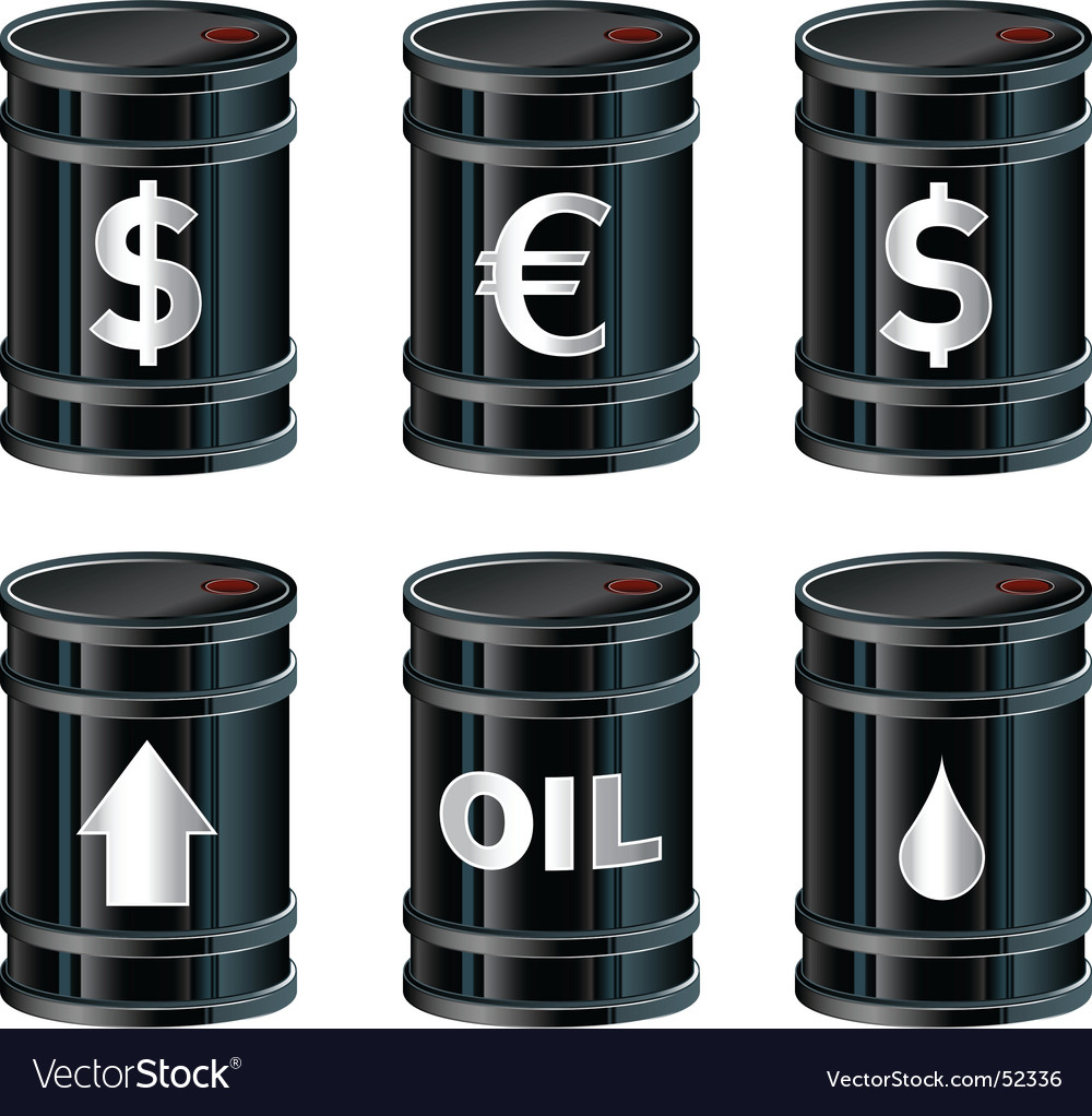 Black oil barrels with insignia vector | Price: 1 Credit (USD $1)