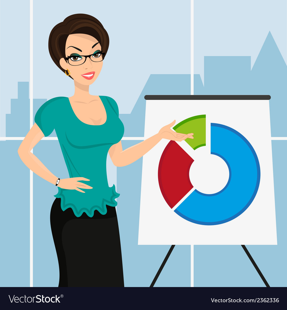Business woman is representing a round diagram in vector | Price: 1 Credit (USD $1)