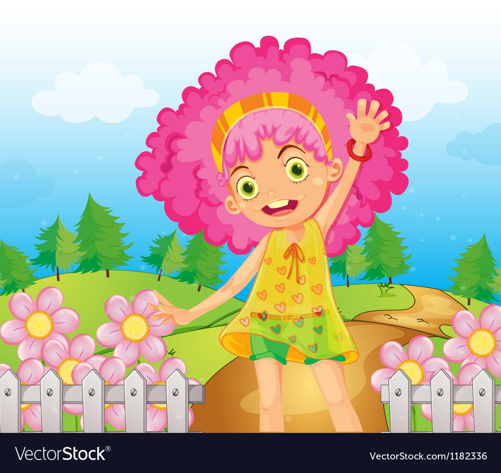 Cartoon pink flower girl vector | Price: 1 Credit (USD $1)