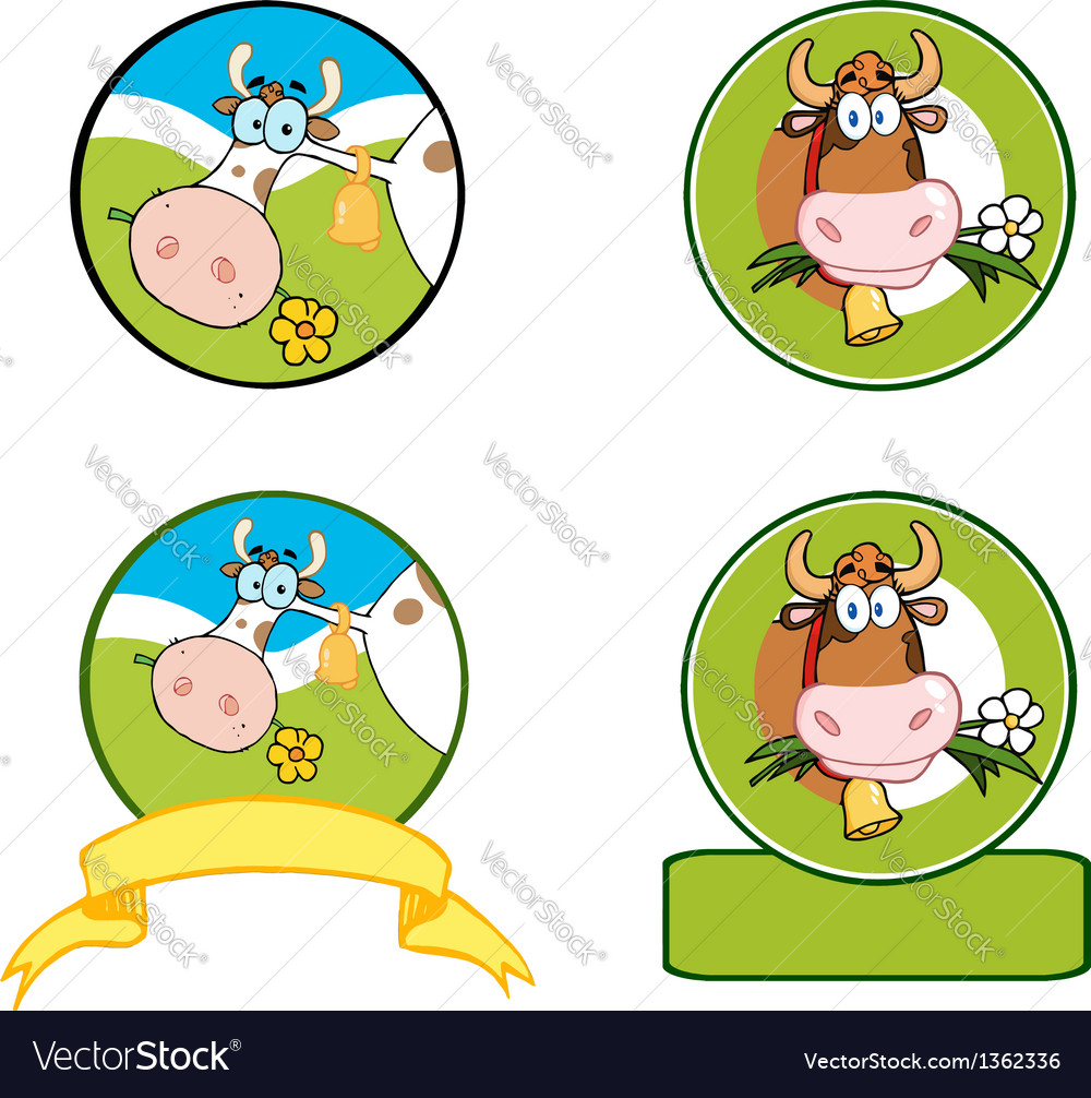 Dairy cow cartoon banner collection vector | Price: 3 Credit (USD $3)