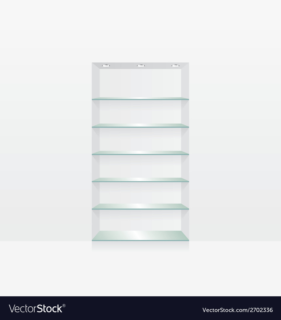 Empty glass shelves on white wall vector | Price: 1 Credit (USD $1)