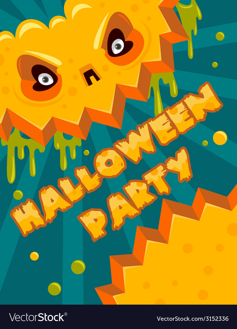 Halloween party pumpkin banner vector | Price: 1 Credit (USD $1)