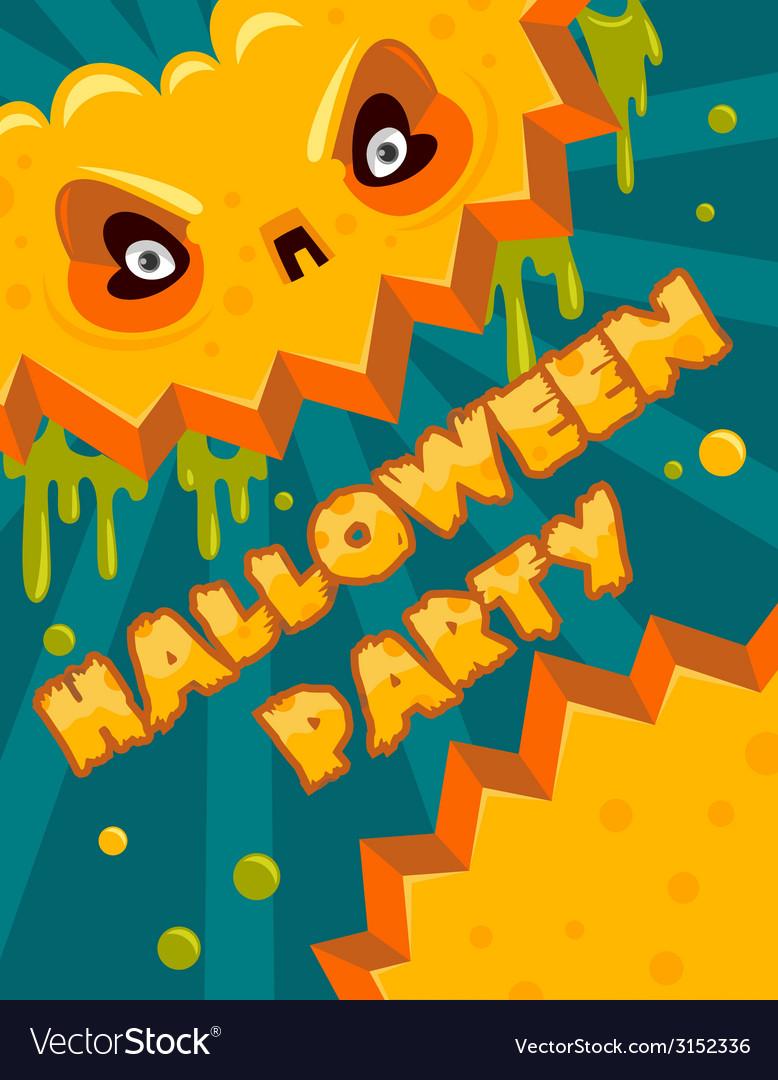 Halloween party pumpkin banner vector | Price: 1 Credit (USD $1)