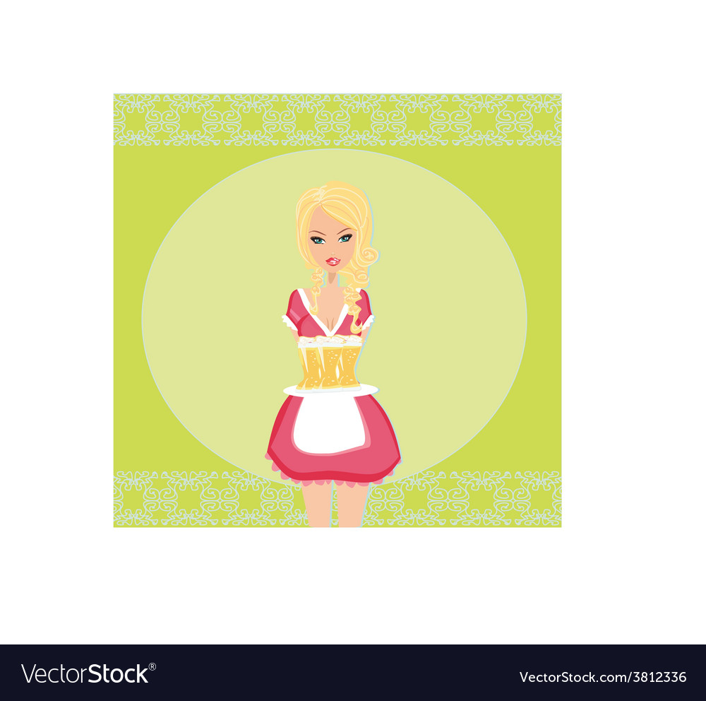Oktoberfest waitress with beers on a tray - card vector | Price: 1 Credit (USD $1)