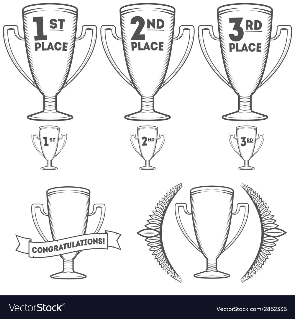 Set of cups and crowns vector | Price: 1 Credit (USD $1)