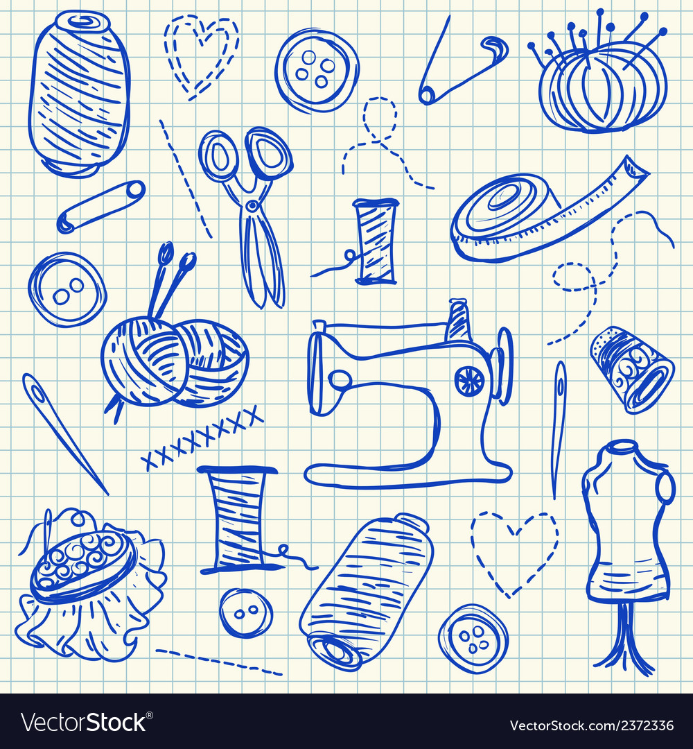 Sewing doodles vector | Price: 1 Credit (USD $1)