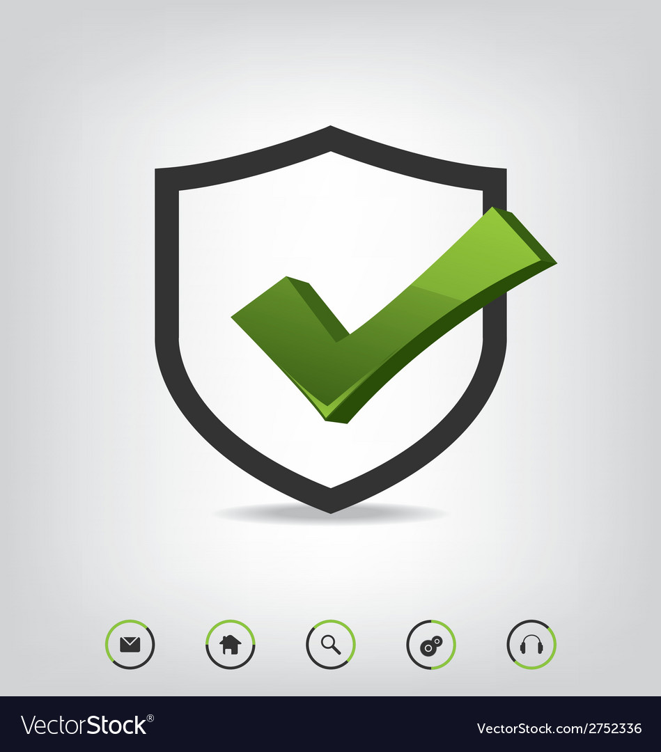 Shield check mark and web icons vector   Price: 1 Credit (USD $1)