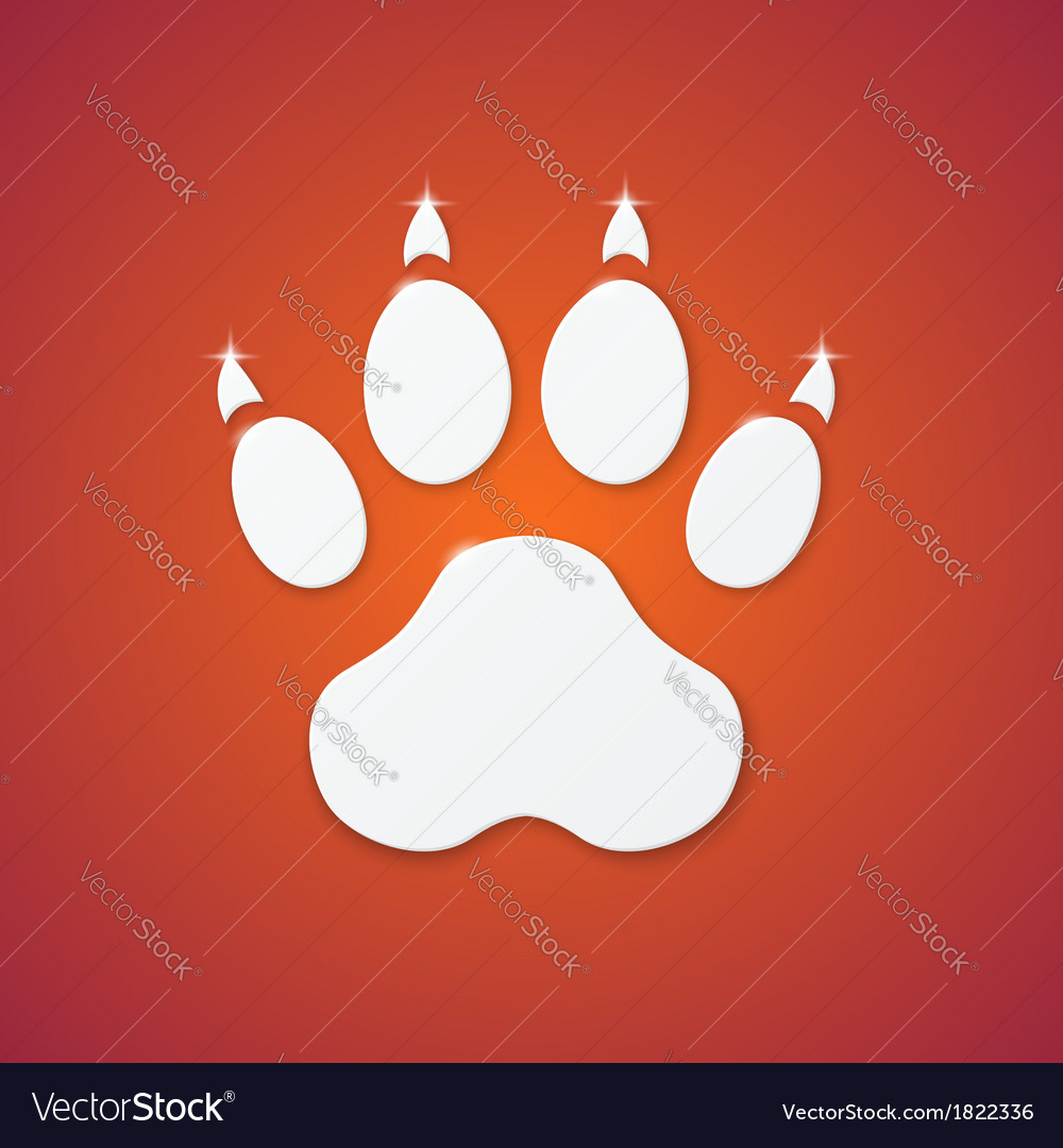 Shiny plastic trace of dog on orange background vector | Price: 1 Credit (USD $1)