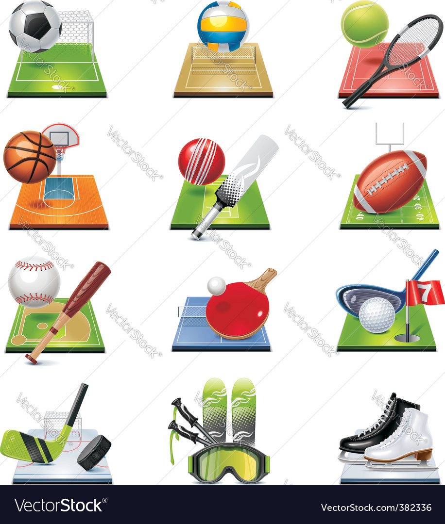 sport icon set vector | Price: 3 Credit (USD $3)