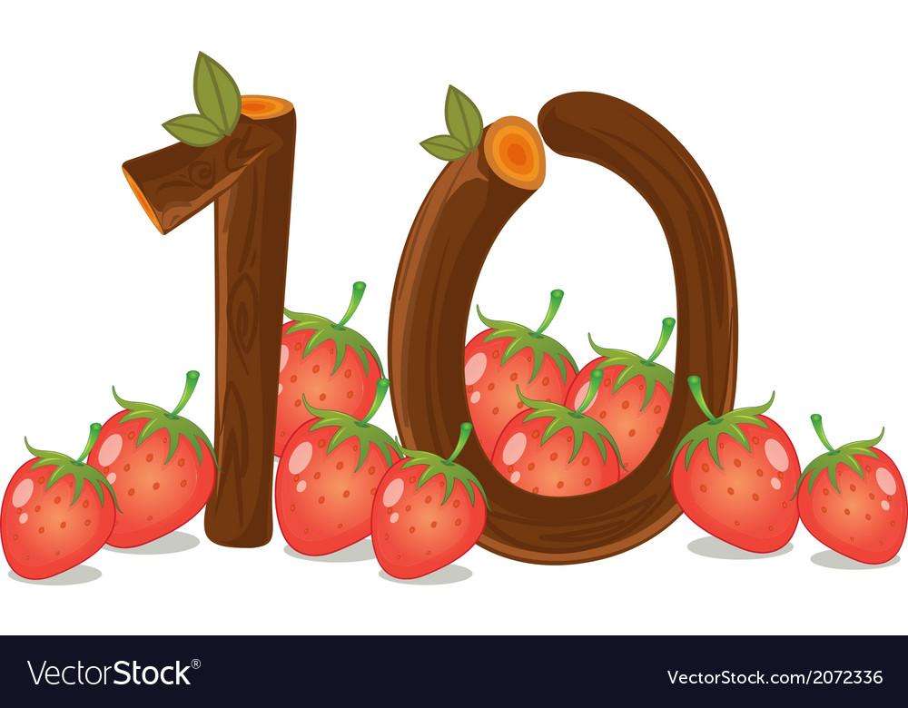 Ten strawberries vector | Price: 1 Credit (USD $1)
