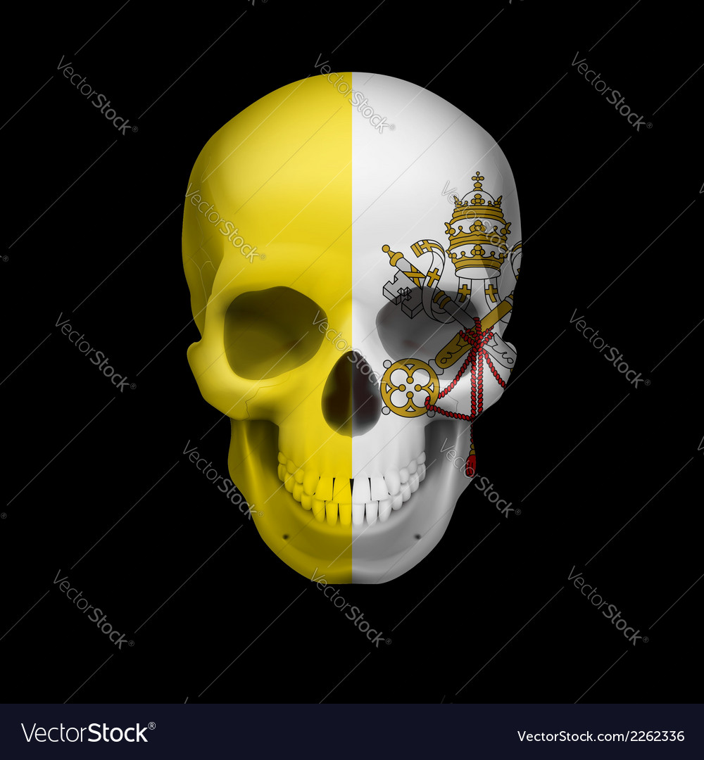 Vatican city flag skull vector | Price: 1 Credit (USD $1)