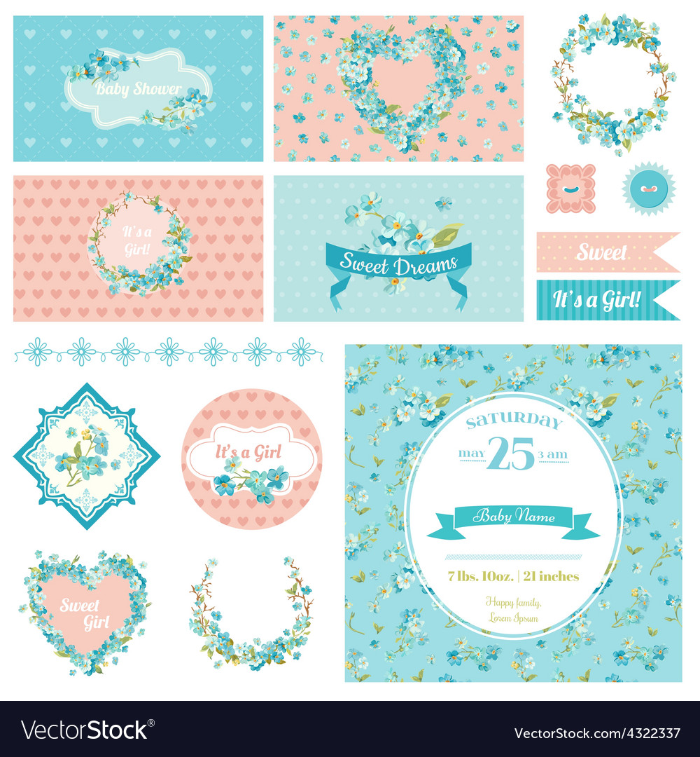 Baby scrapbook party set - flower theme vector | Price: 1 Credit (USD $1)