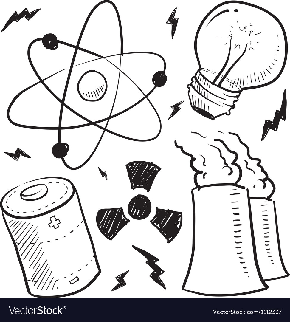 Doodle power source nuclear vector | Price: 1 Credit (USD $1)