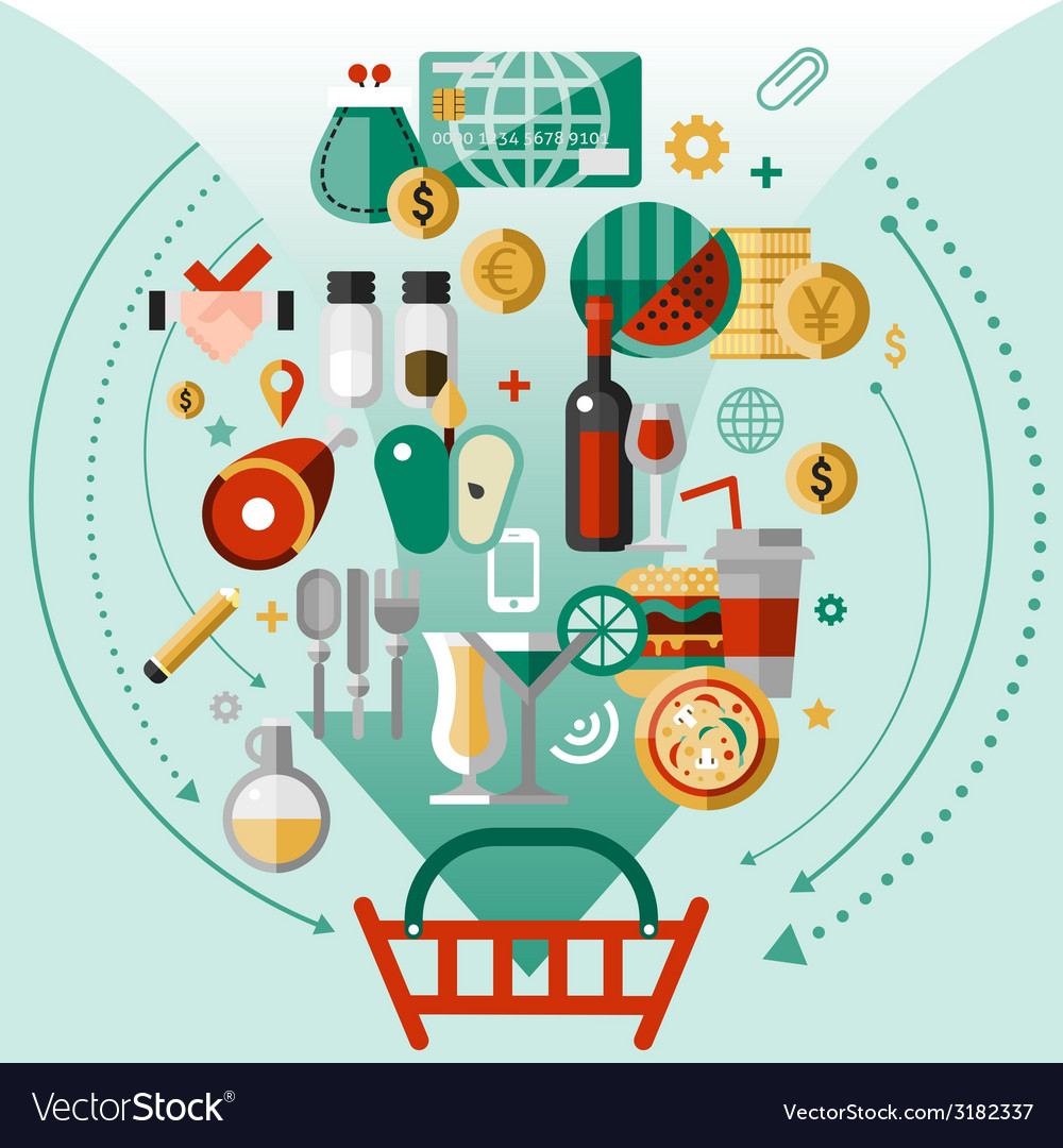 Food icons basket vector   Price: 1 Credit (USD $1)
