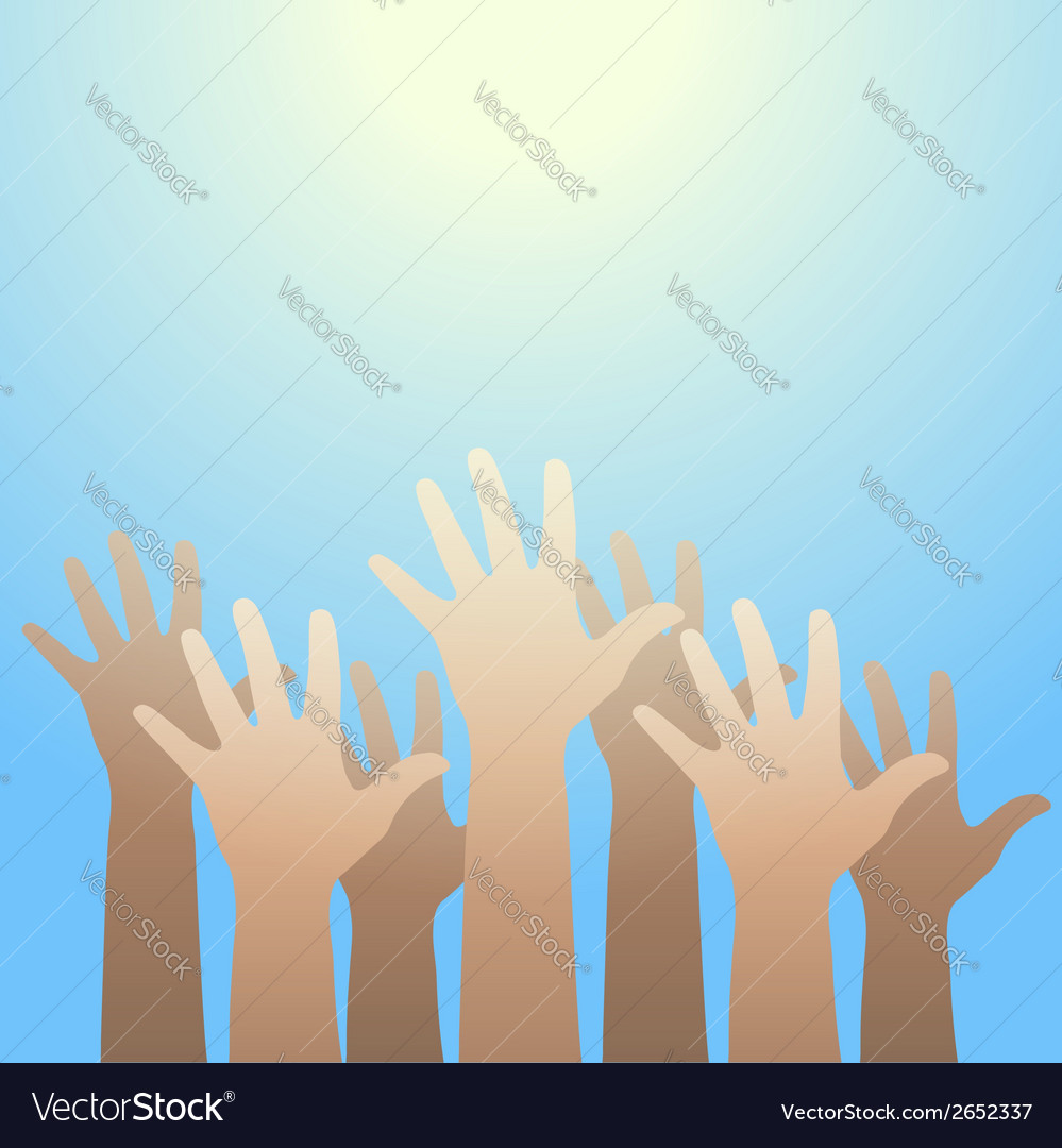 Hands raised up to the light faith and hope vector | Price: 1 Credit (USD $1)