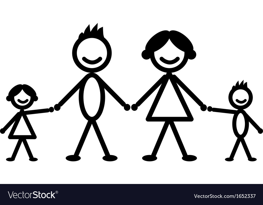 Happy stick family vector | Price: 1 Credit (USD $1)