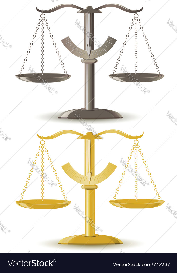 Justice scale isolated on white background vector | Price: 1 Credit (USD $1)