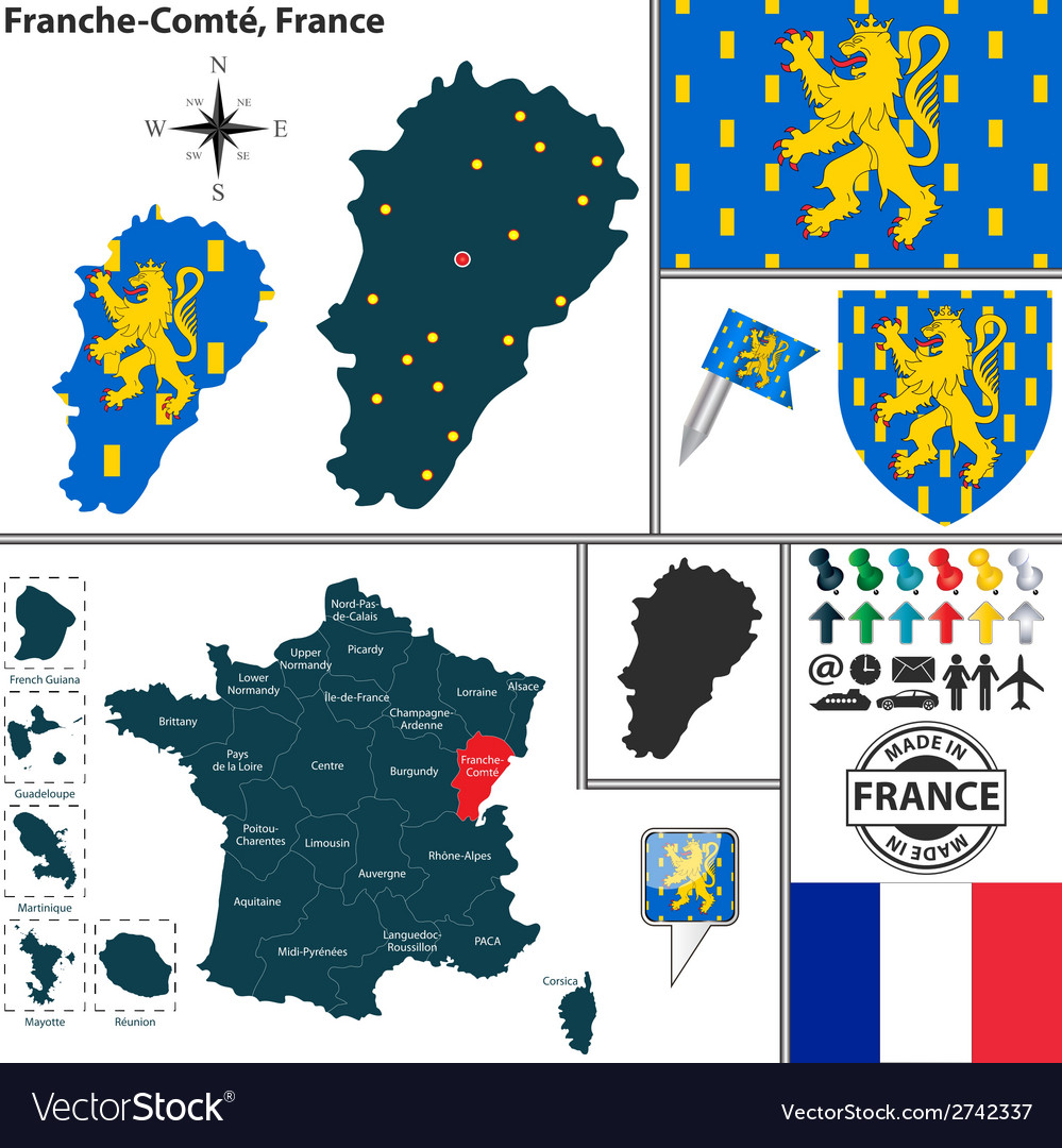Map of franche comte vector | Price: 1 Credit (USD $1)