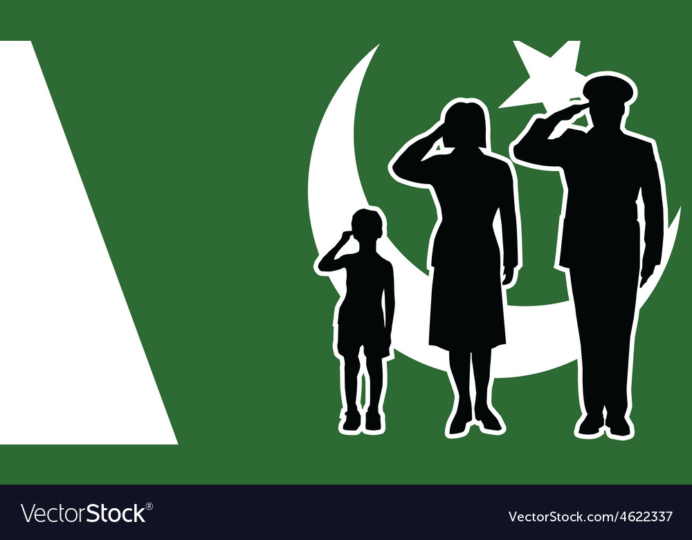 Pakistan soldier family salute vector | Price: 1 Credit (USD $1)
