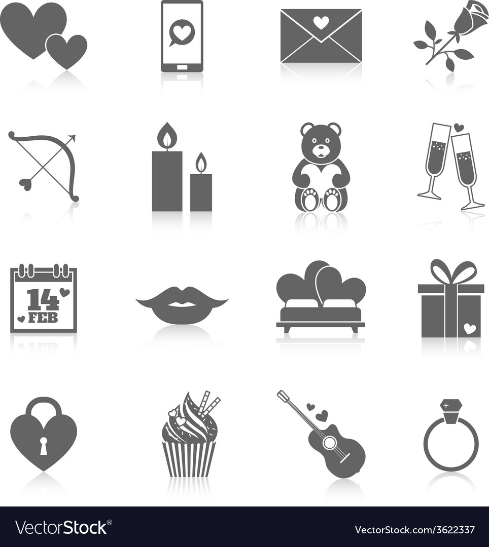 Romantic icon set vector | Price: 1 Credit (USD $1)