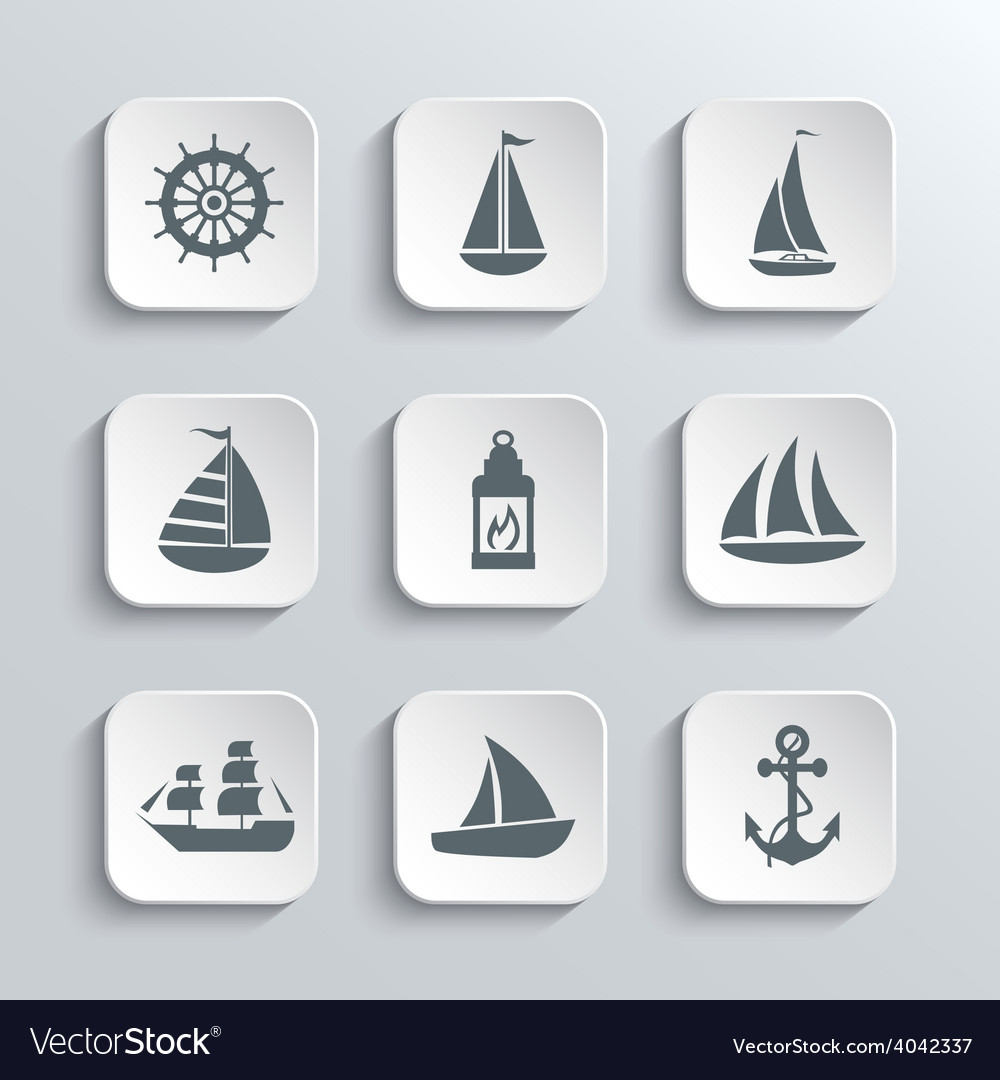 Sailboat web icons set vector | Price: 1 Credit (USD $1)