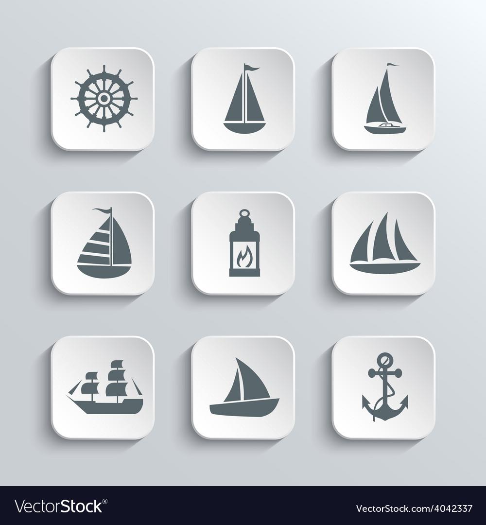 Sailboat web icons set vector | Price: 1 Credit (USD $1)