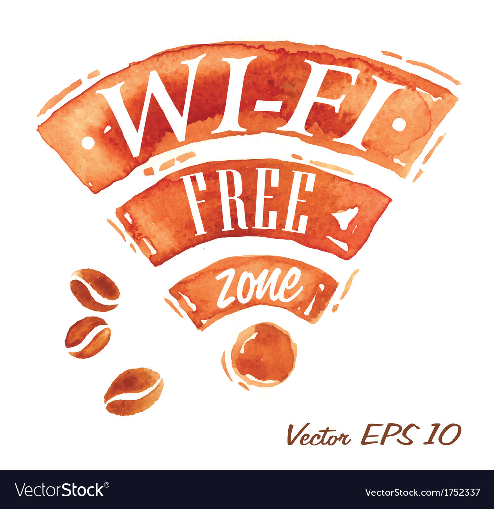 Set watercolor coffee wi-fi vector | Price: 1 Credit (USD $1)