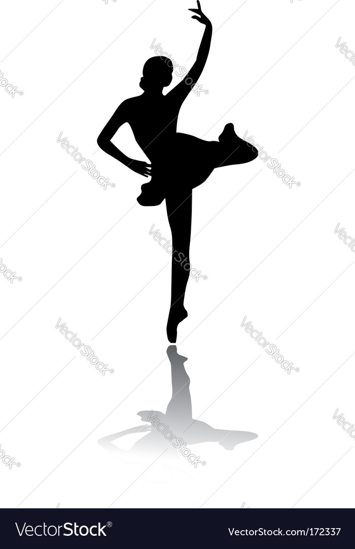 Silhouette of woman ballet dancer vector | Price: 1 Credit (USD $1)