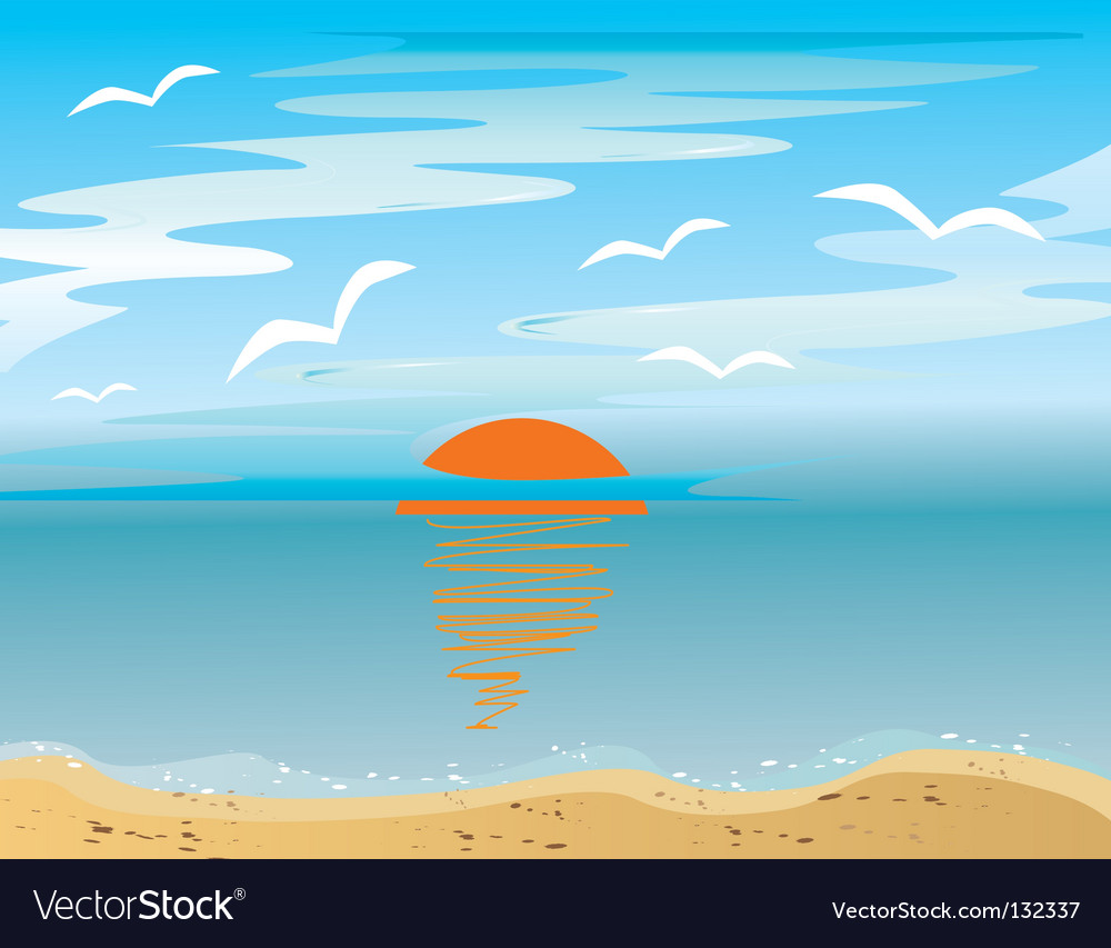 Sunrise over the sea vector | Price: 1 Credit (USD $1)